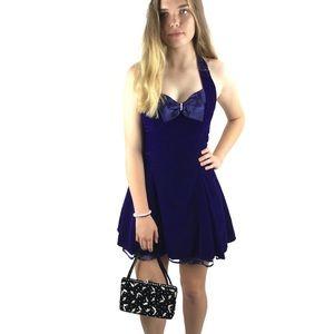 1980's velvet purple mini halter dress with bow